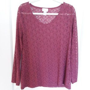Soft Surroundings Long Sleeve Lace Top